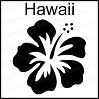 One Inch Wooden Stamp Hibiscus Flower Graphic Shows Image That Will Be Stamped Without Border